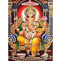 Ganesha Sitting on Throne - Glitter Poster