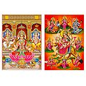 Lakshmi, Saraswati, Ganesha and Navadurga  - Set of 2 Glitter Posters