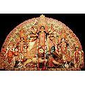 Durga with Her Children Slaying Mahishasura