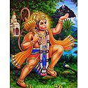 Hanuman Carrying Gandhamadan Parvat - Glitter Poster