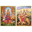Bhagawati and Lakshmi, Saraswati, Ganesha - Set of 2 Posters