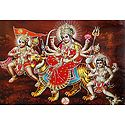 Bhagawati with Hanuman and Batuk Bhairav - Glitter Poster
