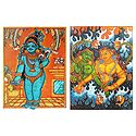 Bal Gopal and Mermaids - Set of 2 Mural Posters - Unframed