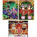 Jagannath Balaram Subhadra, Radha Krishna and Gaur Nitai - Set of 3 Photo Print