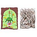 Durga and Mangal Kalash on Banana Leaf - 2 Small Posters