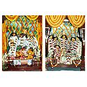 Radha Krishna, Nimai and Pancha Tattva Deities - Set of 2 Photo Prints