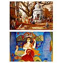 Saraswati and Village Temple - Set of 2 Small Posters