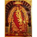Shirdi Sai Baba Sitting on Throne - Golden Metallic Poster