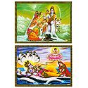 Vishnu Lakshmi and Shiva Parvati - Set of 2 Posters