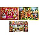 Lakshmi, Saraswati and Ganesha, Vaishno Devi and Lakshmi, Saraswati and Ganesha - Set of 3 Posters