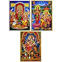 Lakshmi, Saraswati, Ganesha and Vaishno Devi - Set of 3 Posters
