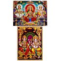 Lakshmi, Saraswati and Ganesha - Set of 2 Glitter Poster