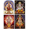 Bhagawati,Ganesha,Vishnu, Rama - Set of 4 Glitter Poster