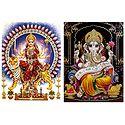 Bhagawati,Ganesha - Set of 2 Glitter Poster
