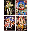 Radha Krishna,Santoshi Mata,Ganesha,and Hanuman - Set of 4 Glitter Posters
