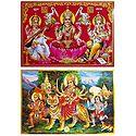 Lakshmi, Saraswati, Ganesha and Vaishno Devi - Set of 2 Posters