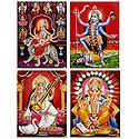 Navadurga, Kali, Saraswati, Ganesha - Unframed 4 Glitter Poster
