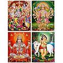 Ram Darbar, Hanuman, Krishna - Unframed 4 Glitter Poster