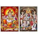 Ram Darbar and Ganesha - Set of 2 Glitter Posters