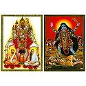 Goddess Kali, Sri Ramakrishnadev and Sarada Maa - Set of 2 Posters