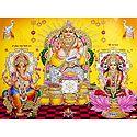 Kubera with Lakshmi and Ganesha - Gliotter Poster