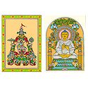 Lord Krishna with Gopinis and Lord Buddha - 2 Patachitra Posters - Unframed