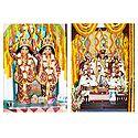 Gaur, Nitai and Gaurangadev with Lakshmipriya and Vishnupriya - Set of 2 Photo Prints