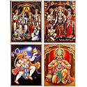 Ram Darbar and Hanuman - Set of 4 Glitter Posters