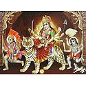 Bhagawati with Hanuman and Batuk Bhairav - Poster with Glitter