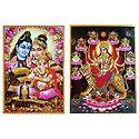 Shiva, Parvati, Ganesha, Navadurga - Set of 2 Posters