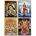 Lakshmi, Ganesha, Navadurga, Shiva and Krishna - Set of 4 Posters