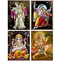 Radha Krishna,Ganesha,and Hanuman - Set of 4 Glitter Posters