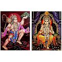 Lord Rama and Hanuman - Set of 2 Glitter Posters