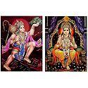 Lord Rama and Hanuman - Set of 2 Glitter Posters