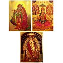 Lakshmi,Saraswati,Ganesha, Radha Krishna and Shirdi Saibaba  - Set of 3 Golden Metallic Paper Poster