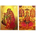 Lakshmi,Saraswati,Ganesha and Radha Krishna  - Set of 2 Golden Metallic Paper Poster
