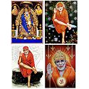Shirdi Sai Baba - Set of 4 Glitter Poster
