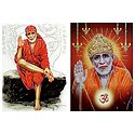 Shirdi Sai Baba - Set of 2 Glitter Poster