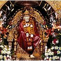 Shirdi Sai Baba in Red Robe Sitting on Throne