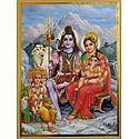 Shiva Parvati with Ganesha and Kartik
