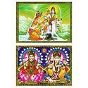 Shiva Parvati and Lakshmi, Saraswati - Set of 2 Posters