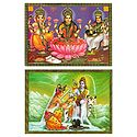 Shiva Parvati and Lakshmi, Saraswati, Ganesha - Set of 2 Posters