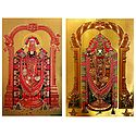 Lord Venkateshwara - Set of 2 Golden Metallic Paper Poster