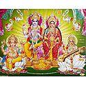 Vishnu and Lakshmi with  Saraswati and Ganesha - Glitter Poster