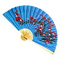 Floral Painted Blue Silk Cloth Wall Hanging Fan