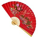 Painted Nature on Red Silk Cloth Wall Hanging Fan