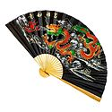 Painted Dragons on Black Silk Cloth Wall Hanging Fan