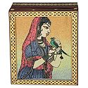 Princess with Parrot - Jewelry Box with Gemstone Painting