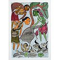Fishing at the Village Pond - Kalighat Painting