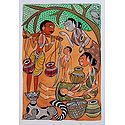 Daily Life in a Village - Kalighat Painting